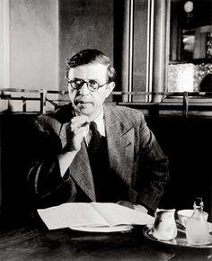 celebs drinking coffee: Jean Paul Sartre au Café Flore, Paris,1944 by Brassaï https://www.facebook.com/Kronotrop
