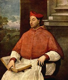 Sebastiano del Piombo, between 1485-1547: Portrait of Antonio Cardinal Pallavicini    Public Collection (?), ARC      During this era, the linen rochetta falls quite far past the knees, probably to mid-calf. His hood is lined with a much lighter fabric, a nice contrast. He wears a large ring on the first finger.