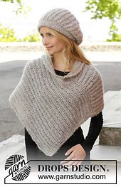 Free pattern on Ravelry: 157-14 Tender Moments Hat and shawl by DROPS design