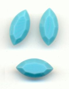 On sale at Jan's Jewels: vintage West German opaque turquoise rhinestones!