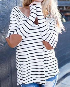 b7d974fbf7d Casual striped t shirt with elbow patch for women v neck t shirts Long  Sleeve Tops