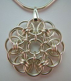 Earrings /& Pendant Illusion Silver Bulls-Eye 3-Piece Chainmaille Jewelry Set Bracelet Chainmail Jewelry Aluminum