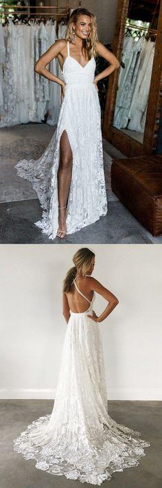 mermaid beach wedding dresses, a-line deep v-neck lace wedding gowns with court train, perfect wedding fashion.