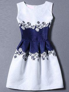 Vestido sin manga flores línea A-(Sheinside)