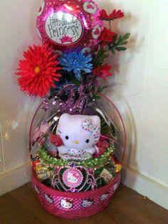 HELLO KITTY Polka Dot Lollipop Princess Gift Basket Creation by cappelloscreations, $22.00 @Etsy