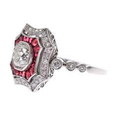 Gorgeous ruby and diamond Art Deco engagement ring.