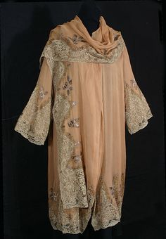 Beaded/embroidered silk chiffon evening coat, c.1926, from the Vintage Textile archives.