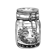 #MasonJar #Drawing #Jar #Tattoo Illustration, Skull, Sketch, Terrarium - Photo by @blackworknow - Follow #extremegentleman for more pics like this!
