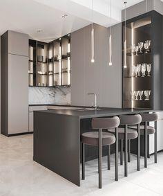 Room Design Bedroom, Home Room Design, Grey Kitchen Designs, Modern Kitchen Design, Small House Interior Design, Office Interior Design, Luxury Kitchens, Home Kitchens, Kitchen Interior Inspiration