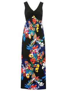 Large image of Parrot print maxi dress - opens in a new window Textile Prints, Textiles, Dress Me Up, Looking For Women, Parrot, Dark Florals, Fashion Outfits, 21st Century, Clothing