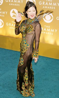 "Margaret Cho, 2004  ""I don't think I enjoy the awards show press gauntlet anymore,"" wrote comedian Cho on her blog shortly after her Grammys appearance. ""At least this year I had the best gown ever, designed by Derek of Narcisse, a couture peacock feather fantasy, which was named the Worst Dress of the 2004 Grammys by E!, Entertainment Tonight, Joan Rivers and Steven Cojucaru -- which means it was the best dress there."""