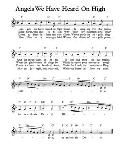 Free Sheet Music - Free Lead Sheet - Angels We Have Heard On High - Free Christmas Sheet Music