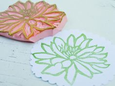 NEW Flower Rubber Stamp Hand Carved Scrapbook Paper Card Fabric Embellishment Supply