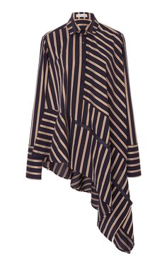 Blazer Stripe Spicey Asymmetrical Shirt by PALMER//HARDING for Preorder on Moda Operandi