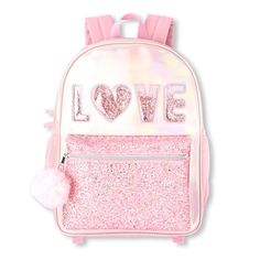 Shop for The Children's Place Girls 'Love' Confetti Shaker Iridescent Backpack. Check out our great selection of kids clothes, baby clothes & more at the PLACE where big fashion meets little prices! Cute Mini Backpacks, Stylish Backpacks, Girl Backpacks, Little Girl Backpack, Backpack For Teens, Cute Purses, Purses And Bags, Mochila Adidas, Girls Bags