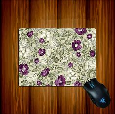Purple Flower Mouse Pad Cloth Surface Natural Rubber by ATHiNGZ, $11.99