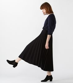 BLACK BY MOUSSY(ブラックバイマウジー) |Pleated skirt(NVY)