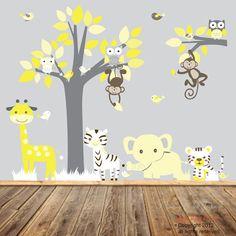 Nursery Vinyl Wall Decal Sticker Yellow Jungle animal giraffe,elephant, tiger,zebra,monkeys,with owls and birds