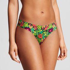 Women's Laser Cut Thong Tropical Green L - Xhilaration