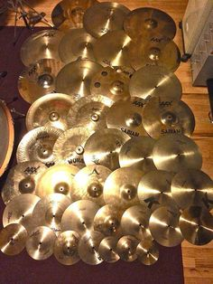 Sweet! Shiny Cymbals - lot of percussion power! Nice camera flash lighting, reflecting gold off the shiny surfaces. #cSw:) - https://www.pinterest.com/claxtonw/drummer-drumming/ - DRUMMER DRUMMING. And percussion of course!!