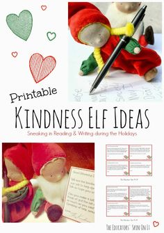 Printable Kindness Elf Ideas for sneaking in Reading and Writing during the Holidays from The Educators' Spin On It