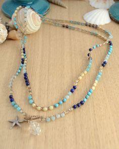 Long multicolored beach chic necklace. Bohemian by SinonaDesign, €49.00