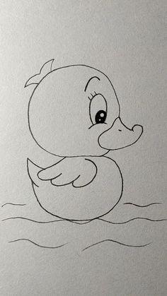 Disney Drawings Sketches, Easy Cartoon Drawings, Cute Disney Drawings, Cute Easy Drawings, Art Drawings Sketches Simple, Art Drawings For Kids, Pencil Art Drawings, Cartoon Pencil Drawing, Animal Sketches Easy