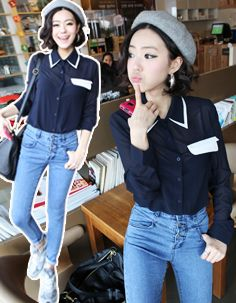 monochrome double collar detail pocket flap shirt  CODE: MGM962  Price: SG $49.80(US $40.16)