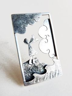On the Rock - brooch girl clouds sea illustrative - Becky Crow