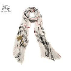 Low Price Burberry Charcoal Check Crinked Cashmere Scarf Linen SC1010