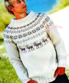 Вязание мужского свитера с оленями 975