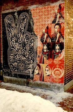 Shepard Fairey (OBEY the giant) art Graffiti Art, Murals Street Art, Graffiti Quotes, Amazing Street Art, Amazing Art, Shepard Fairey Art, Obey Art, Outdoor Art, Land Art
