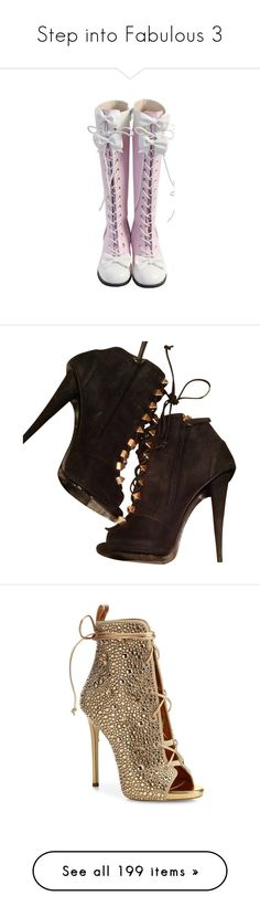 """Step into Fabulous 3"" by jennziegirl ❤ liked on Polyvore featuring shoes, boots, ankle booties, heels, none, peep toe heel boots, giuseppe zanotti booties, black and gold booties, heeled bootie and short heel boots"