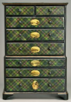 furniture, England, Furniture: A rare tartan ware miniature high chest, top and bottom sections with graduated drawers, top section with two-over-three drawers, lower section with three drawers, bracket feet, each with oval print of Scottish Highland scenes, waterfalls, lakes, mountains, top with oval medallion Loch Lomond from Above Luss, Murray tartan, original surface, late 19th to early 20th century.
