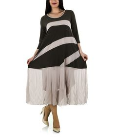 Another great find on #zulily! Khaki & Black Stripe Scoop Neck Dress - Plus by La Mouette #zulilyfinds