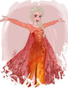 "by juliajm15:  ""favorite headcanon: Elsa with fire powers *-*"""