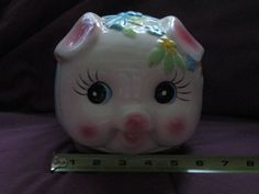 Vintage adorable pig piggy bank pink with by oldnsalvagedtreasure, $22.00
