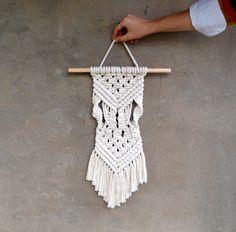 Small macrame wall hanging Boho wall by CrochetedCosiness on Etsy