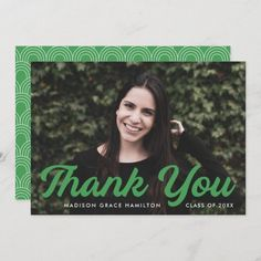 """Graduation thank you card personalized with the graduate's photo, name, and graduation year. """"Thank You"""" is displayed in a bold green script font. Designed by Late Bloom Paperie. #graduationthankyoucards #graduationthankyounotes #graduationthankyoucardswithphoto #graduationthankyoucardtemplate #zazzle #ad Graduation Thank You Cards, Graduation Year, Graduation Party Invitations, Graduation Party Decor, Graduation Announcement Template, Graduation Announcements, Thank You Card Template, Custom Thank You Cards, Graduation Cap Toppers"""