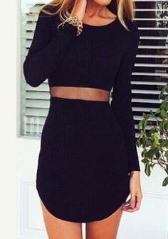 Waist Sheer Black Dress- Structured Black Midi Dresss