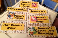 Mickey Mouse clubhouse. Party food. Mickey names. Hot diggity dogs. Daisies fruit rainbow. Chips and Dale. Minnie's bow tie salad. Toodles tea. Plutos punch. Donald's cheese and quackers. Mickey Mouse party ideas. Www.momsbistro.net/blog