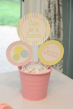 5M Creations: Cute as a Button Party / Baby Shower Centerpiece