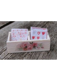 Dollhouse miniature napkin box shabby chic. $10.00, via Etsy.