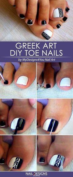 Geometric Diy Toe Nails Designs Greek Art ❤️ DIY Toe Nail Designs: Easy Ideas for Beginers❤️ See more: naildesignsjourna. Nail Designs Easy Diy, Toe Designs, Pedicure Designs, Pedicure Nail Art, Toe Nail Art, Nail Art Diy, Diy Nails, Pedicure Ideas, Nail Art Pieds