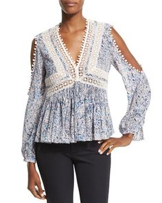 Long-Sleeve+Paisley+Cold-Shoulder+Top,+Blue/Pink+by+Rebecca+Taylor+at+Neiman+Marcus+Last+Call.