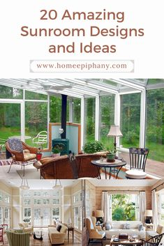 It doesn't get much better than a sunroom. Here are 20 stunning design ideas for your sun room! Outdoor Spaces, Outdoor Living, Outdoor Decor, Home Bar Designs, Home Remodeling Diy, Family Room Design, Window Design, Diy Home Improvement, Other Rooms
