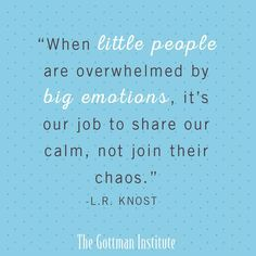 Recognize, respond to, and validate your child's emotions. Share calm, not chaos.