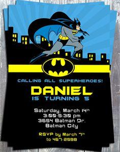 Supper Heroes Batman Birthday Party Printable Invitation-supper heroes, batman, birthday party, printable invitation, digital invite, party ...