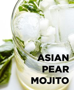 Asian Pear Mojito Recipe – Best Mojitos A spoon (actually two teaspoons) of honey make the vodka go down in the most delightful way, especially in this Asian Pear Mojito, a refreshing blend of pears, basil, honey and vodka. Pear Drinks, Vodka Cocktails, Cocktail Drinks, Cocktail Recipes, Asian Cocktail Recipe, Martinis, Asian Pear Mojito Recipe, Asian Pear Recipes, Summer Drinks