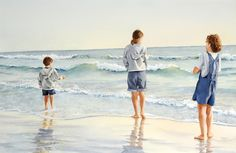 """Jill Poyerd Watercolors - Watercolor Figures """"watching the waves"""" Watercolor Portraits, Watercolor Paintings, Watercolours, Seascape Art, Sea Witch, Painting People, Popular Art, Sea And Ocean, Painting Inspiration"""